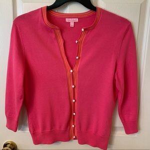 Lilly Pulitzer pink & orange cardigan sweater SZ M